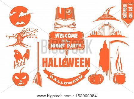 Monochrome flat icon set for Halloween night party. Vector illustration.