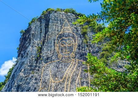 Khao Chee Chan The Largest Buddha Carved In The World With Trees , Pattaya, Thailand