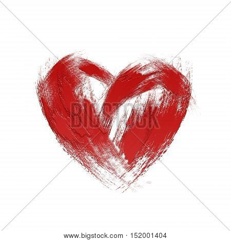 Red Heart On White Abstract Illustration.