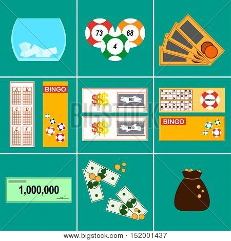 Lottery Vector illustration Icons set Lottery: lottery tickets, prizes, kind of lottery Flat design