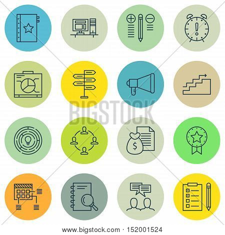 Set Of Project Management Icons On Decision Making, Time Management, Collaboration And Other Topics.