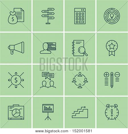 Set Of Project Management Icons On Time Management, Report, Discussion And Other Topics. Editable Ve