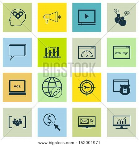 Set Of Seo Icons On Connectivity, Keyword Optimisation, Ppc And Other Topics. Editable Vector Illust