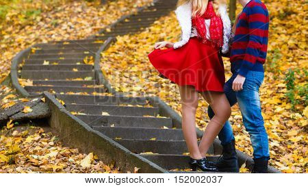 Romantic Pair Meet In Park Standing On Stairs.