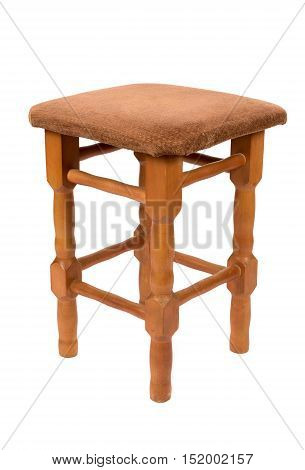 Wooden stool isolated on white background with clipping path