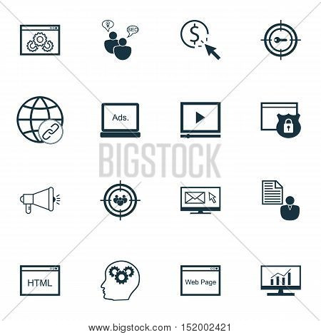 Set Of Advertising Icons On Ppc, Market Research, Website And Other Topics. Editable Vector Illustra
