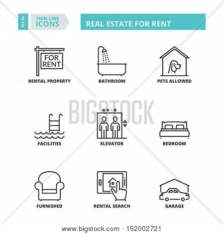 Thin Line Icons. Real Estate For Rent