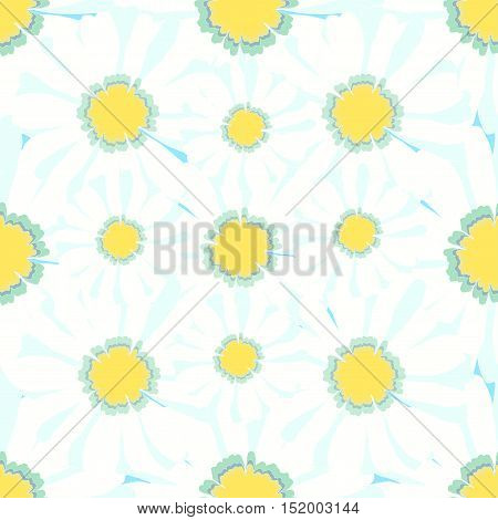 Seamless Macro Pattern With Camomiles On Yellow. Vector Illustration