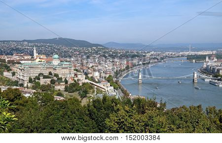 View from Gellert Hill of Buda Castle is the palace of the Hungarian kings and Danube River in Budapest