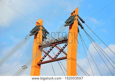 Bridge pylon with steel cable in Odessa Ukraine