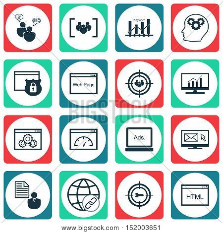 Set Of Seo Icons On Digital Media, Market Research, Report And Other Topics. Editable Vector Illustr