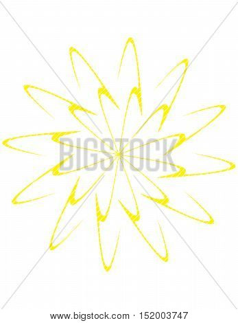 Double spiral burst design in yellow on white background.