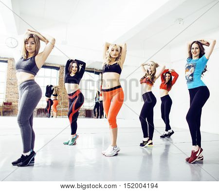 Women doing sport in gym, healthcare lifestyle people concept, modern loft studio, lifestyle people concept close up