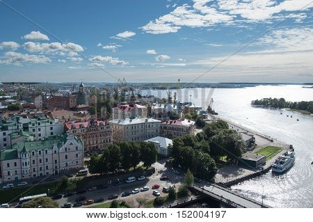 Vyborg Russia September 3 2016: Views of the Gulf of Finland and Vyborg port from the lookout tower in Vyborg Russia