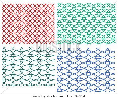 Set of geometric weave circle seamless pattern vector