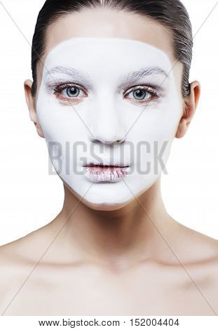 young pretty woman with facial white mask isolated close up spa, lifestyle modern people concept