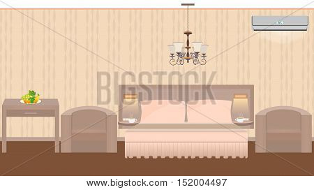 East hotel room interior with furniture chandelier air conditioner. Vector illustration in flat style