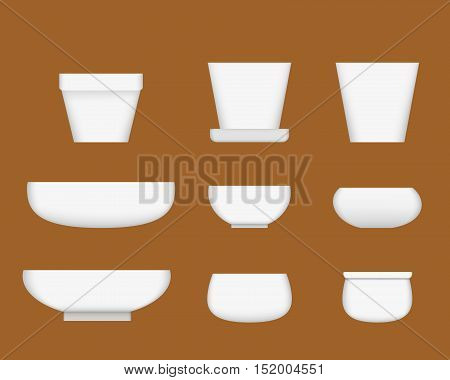 White ceramic bowl in realistic style vector design