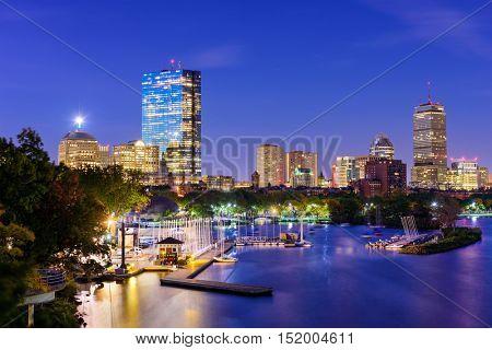 Boston, Massachusetts, USA skyline on the Charles River.