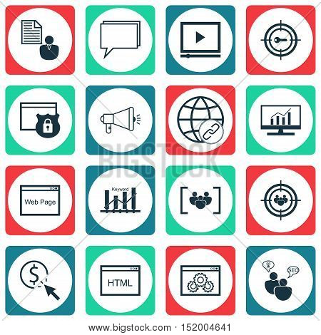 Set Of Advertising Icons On Security, Keyword Optimisation, Coding And Other Topics. Editable Vector