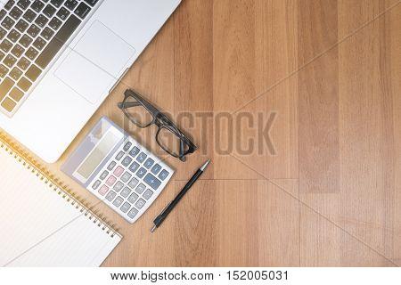 Top View Of Office Desktop Copy Space, Laptop Computer