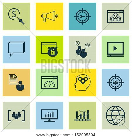 Set Of Marketing Icons On Seo Brainstorm, Keyword Optimisation, Questionnaire And Other Topics. Edit
