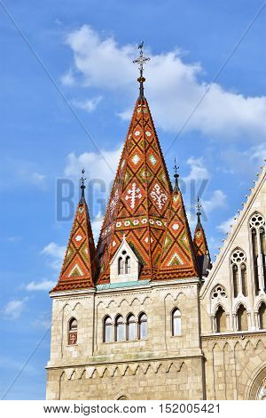 Detail of beautiful hungarian polychrome tiles from Matthias Church in the historic center of Budapest