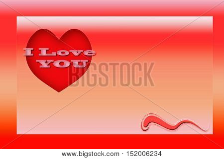 Love greeting valentines day card. 3d illustration.