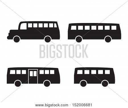 Set of big bus icons in simple silhouette style vector