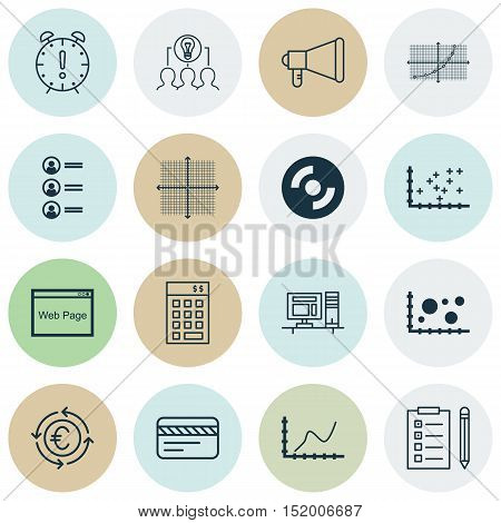 Set Of 16 Universal Editable Icons For Advertising, Business Management And Statistics Topics. Inclu