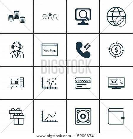 Set Of 16 Universal Editable Icons For Business Management, Computer Hardware And Airport Topics. In
