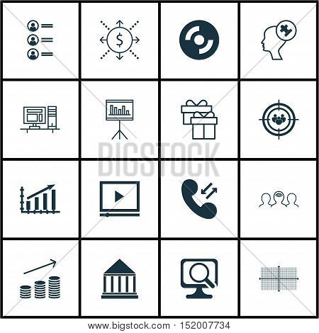 Set Of 16 Universal Editable Icons For Computer Hardware, Business Management And Marketing Topics.