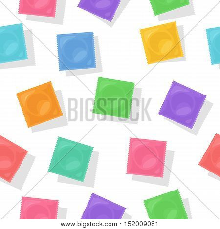 Vector background with colorful condom packs. Flat illustration for contraceptive package design. Symbol of safety sex and birth control.