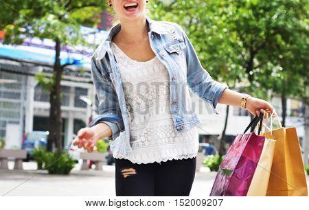 Woman Shopping Spending Customer Consumerism Concept