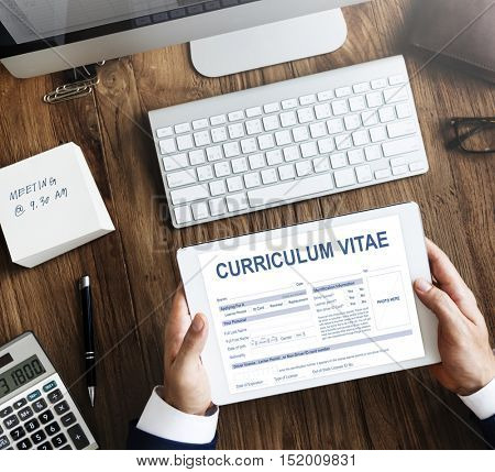 Curriculum Vitae Resume Job Application Concept
