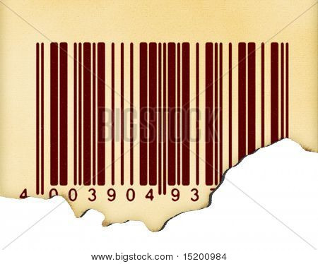 old grunge paper with barcode