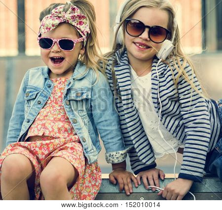 Sister Buddy Fashionable Girls Concept
