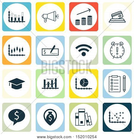 Set Of 16 Universal Editable Icons For Seo, Advertising And Education Topics. Includes Icons Such As