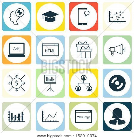Set Of 16 Universal Editable Icons For Statistics, Project Management And Human Resources Topics. In