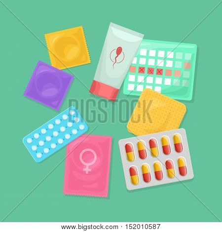 Safe sex and birth control. Set of contraception methods: condom and patch oral contraceptive pills suppository and spermicide female condom and calendar method. Vector illustration