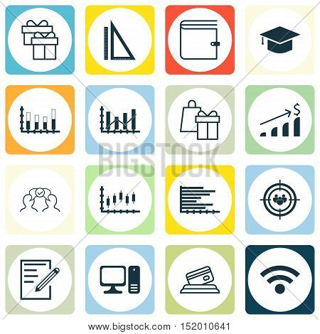 Set Of 16 Universal Editable Icons For Education, Airport And Human Resources Topics. Includes Icons