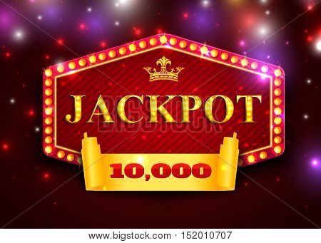 Jackpot background for online casino, gambling club. Jackpot poster template vector eps 10 format.