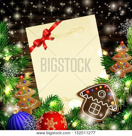 Christmas New Year design wooden background with christmas lights garland and gingerbread trees and house. Vector illustration, Cristmas tree with text candies and a ball. Paper with a empty spase