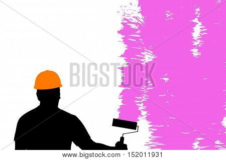 illustration of male painter with helmet with brush painting pink color