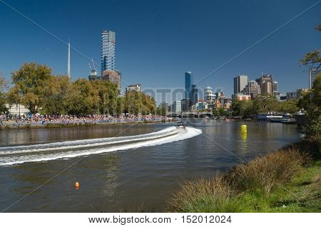 MELBOURNE, AUSTRALIA - MARCH 9, 2014: Weekend event in the city of Melbourne with mtorboat and waterskiing competition.