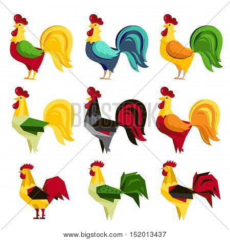 Rooster symbol of 2017 Chinese New Year calendar. Cartoon characters of cock or rooster. Rooster vector icon set. Isolated cartoon cock and rooster. 2017 oriental calendar symbol. Rooster decoration. Cute rooster.