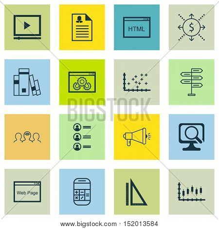 Set Of 16 Universal Editable Icons For Seo, Human Resources And Statistics Topics. Includes Icons Su