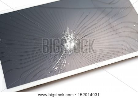 broken screen of a smart phone on a white background