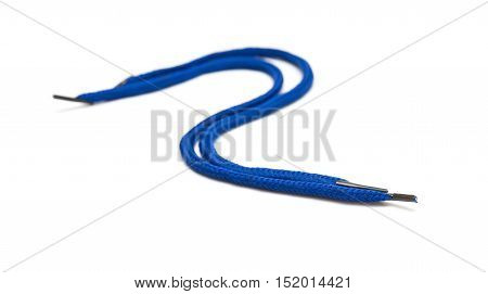 curved blue shoelaces on a white background