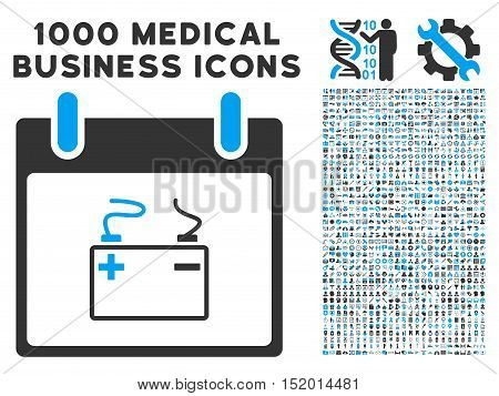 Blue And Gray Accumulator Calendar Day vector icon with 1000 medical business pictograms. Set style is flat bicolor symbols, blue and gray colors, white background.